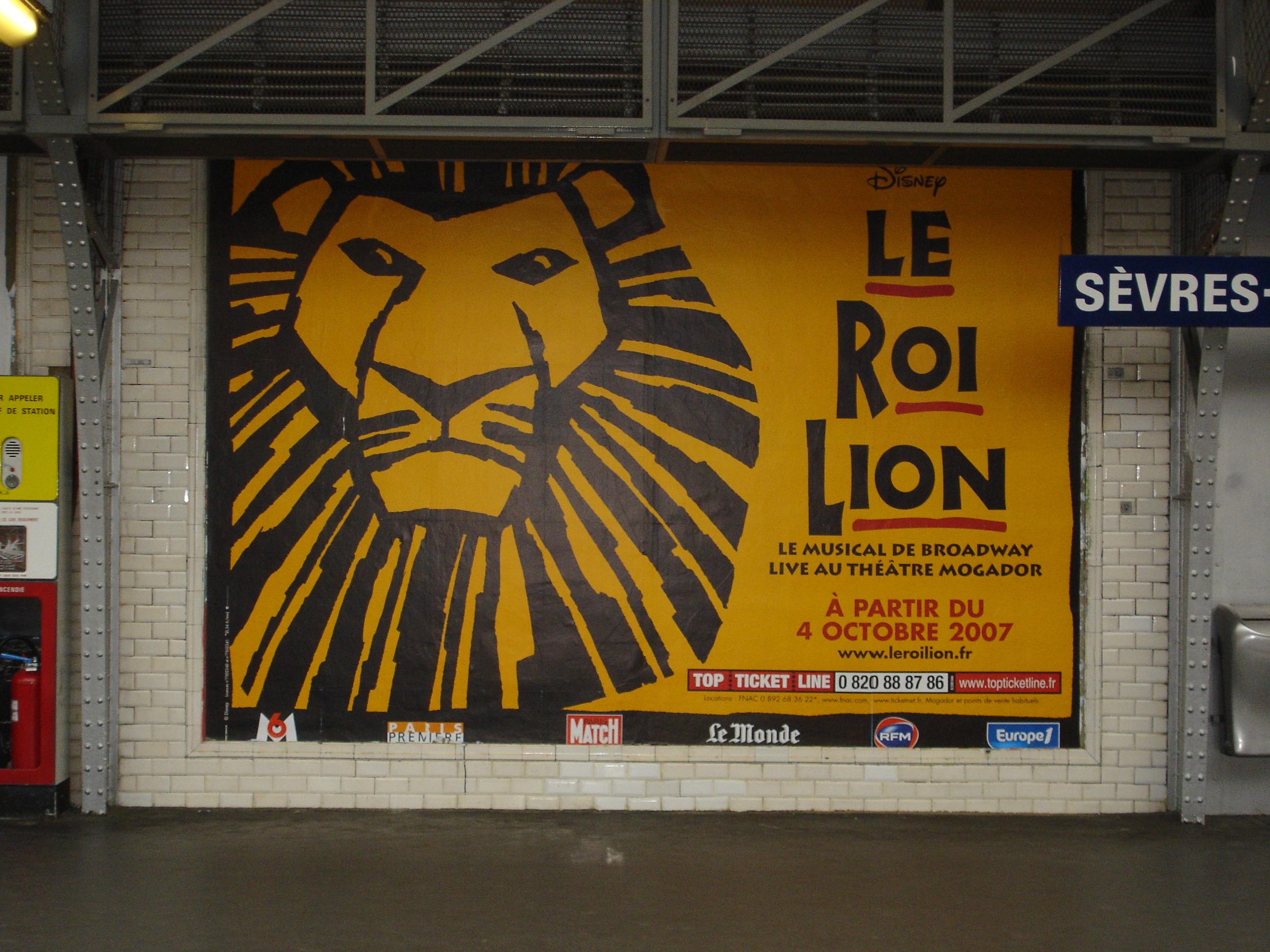Affiche 4x3 Le Roi Lion - Paris métro - mai 2007