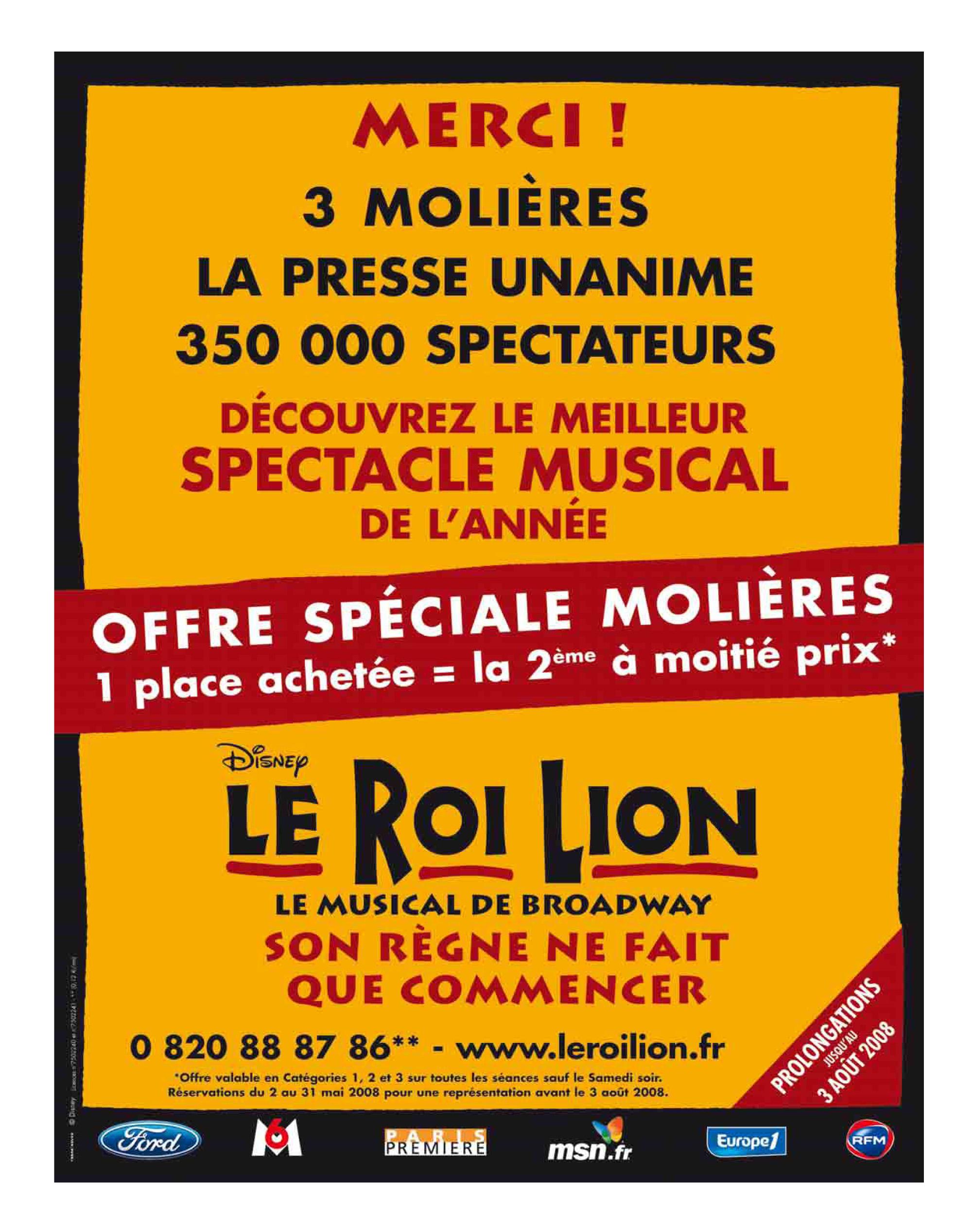 Le Roi Lion - Merci - Molières
