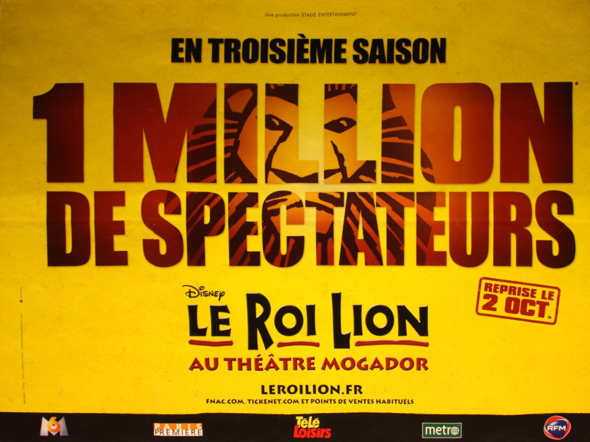 Publicité Le Roi Lion en septembre 2009 pour sa 3e saison